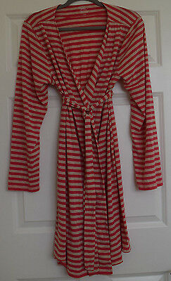 """NWOT """"Bump In The Night"""" Coral and Beige Maternity Robe Size Large"""