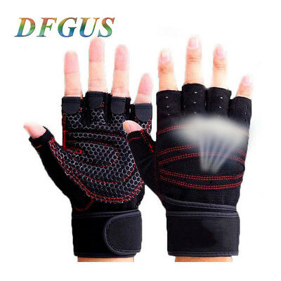 Leather Gym Gloves Weight Lifting Gloves Body Building Training Exercise Workout