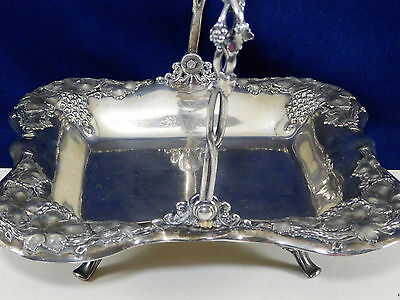 Antique Victorian Silverplate Brides Basket with Grapes Footed