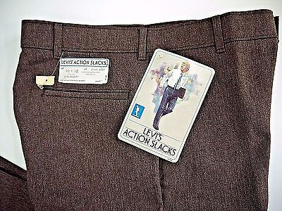 NOS VINTAGE LEVIS ACTION SLACKS sta prest mens 32x30 nwt pleated brown