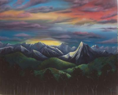 Original Acrylic On Canvas 'sunset Alps' Buy Direct From Artist,