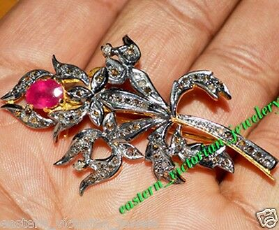 Vintage Retro 1.12cts Rose Cut Diamond Ruby Sterling Silver Brooch Pin Jewelry