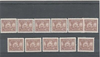 CANADA 1942 KGVI 8 X SG382 8c BROWN FARM SCENE MINT NO HINGED STAMPS
