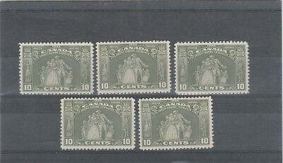 CANADA 1934 KGV 5 X SG333 10c OLIVE GREEN  STATUE HAMILTON MINT NO HINGE STAMPS