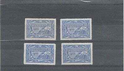 Canada 1951 Kgvi 4 X Sg433 $1 Blue Shade Selection Fisherman Mint Stamps