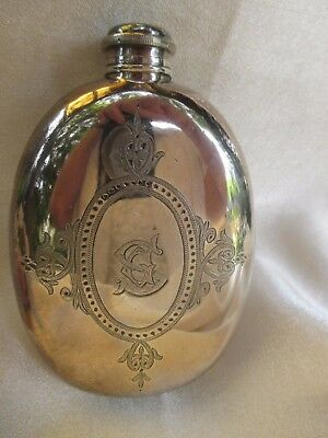 Antique  Silver Plate Whisky Or Brandy Flask