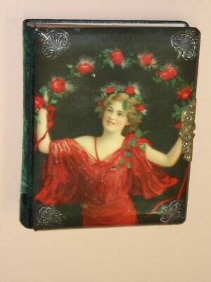 VINTAGE 1910's PHOTO ALBUM ~ BEAUTIFUL LADY COVER AND NEAT LATCH ~ EXCELLENT ~