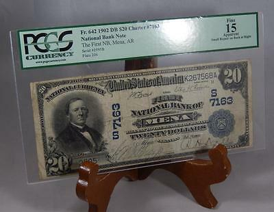 1902 $20 Dollar National Bank Note 7163 First NB Mena, AR PCGS Fine 15 P0050