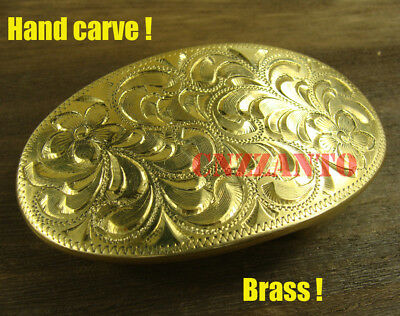 "Oval shaped Heavy duty Hand carved Solid Brass Plate Belt Buckle 1.5"" belt Z256"