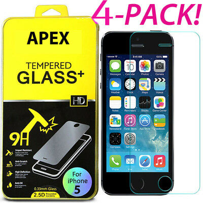 4Pcs Premium Real Screen Protector Tempered Glass Film For iPhone SE 6s 7 8 Plus