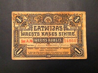 1919 Latvia One 1 Ruble - Scarce P 1 Series A