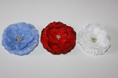 3 pack silky flower clip embellishments