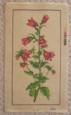 LONG STITCH / TAPESTRY CANVAS BELL STYLE FLOWERS 25 x 50 cm's NO WOOL / COTTON
