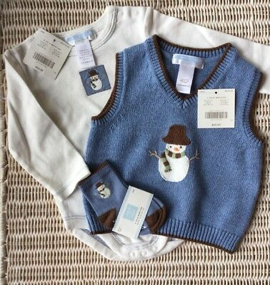 NWT Janie & Jack Boys BABY SNOWMAN Blue & Brown Holiday Sweater Vest 3-6 M