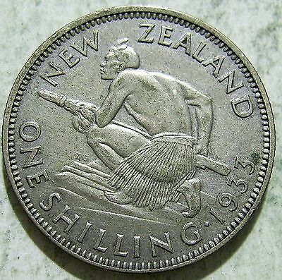 New Zealand 1933 Shilling.VF(spots)(O112510e) Free Registered Postage
