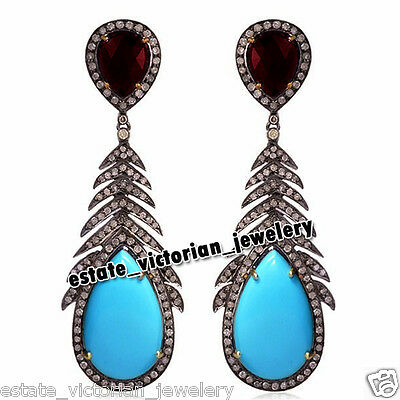 Retro 3.55cts Rose Cut Diamond Turquoise Ruby 925 Silver Feather Earring Jewelry