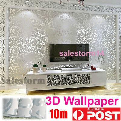 Silver Wall Paper Roll Damask Embossed Feature 3D Textured Wallpapers 0.53m x10m