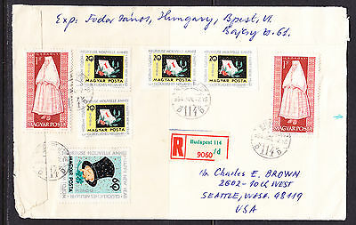 Hungary 1964 Registered R9060 Cover  Budapest to Seattle. Washington