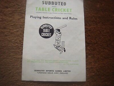 Subbuteo Cricket Accessories  Spares - Playing Instructions / Rules