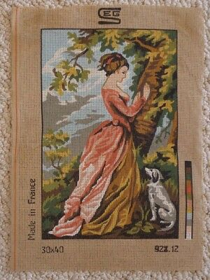 TAPESTRY CANVAS - LADY and DOG NEAR TREE  928.12 - 20 x 31 cm's NO WOOL COTTON