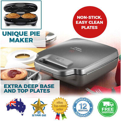 Pie Maker 4 Pie Cooker Machine Party Snack Meal Meat Veg Pies Deep Dish Sunbeam