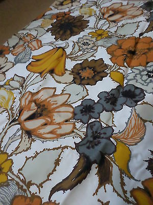 Retro Vintage Floral Orange Brown And Grey Cotton Synthetic Fabric..