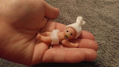 1:12 scale OOAK polymer clay full-sculpt baby with plastic crib, teddy, & more!!