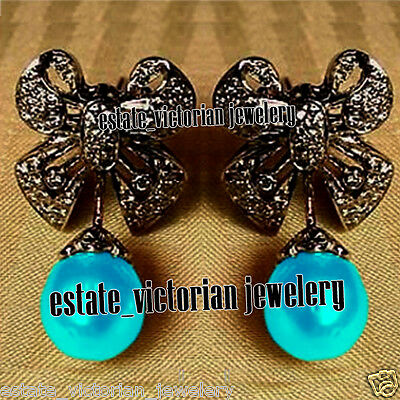 Vintage Retro 3.32Cts Rose Cut Diamond Turquoise Jewelry Sterling Silver Earring