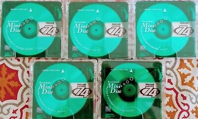 5 X Used Maxell RE- Recordable Minidiscs 74 Minutes for MD players Collectors