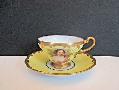"""Royal Vienna Yellow Porcelain Hand Painted """"Portrait"""" Cup and Saucer"""