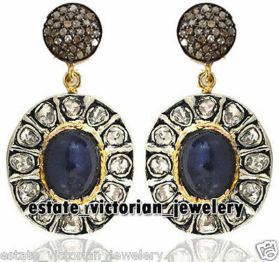 Vintage 4.16Cts Rose Antique Cut Diamond Sapphire Silver Dangler Earring Jewelry