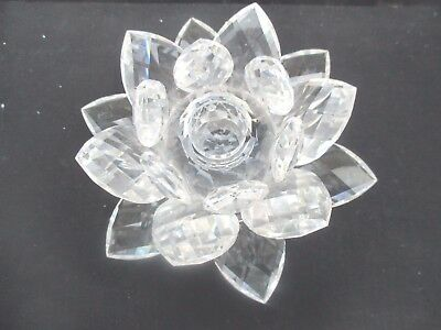Swarovski Silver Crystal Large Water Lily Candle Holder 5 1/2 Inch Wide Boxed