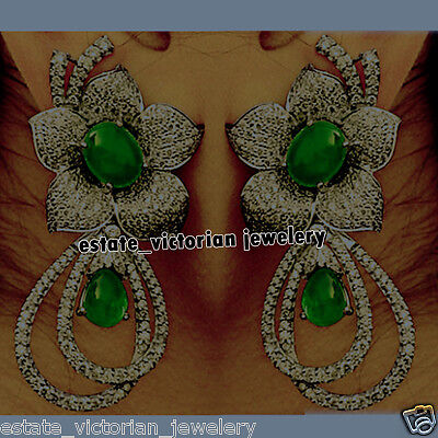Vintage Retro 6.25Cts Rose Cut Diamond Sterling Silver Emerald Earring Jewelry