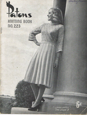 Vintage 1940 Pattern PATONS KNITTING BOOK No 223 LADIES FASHION  skirts JUMPERS