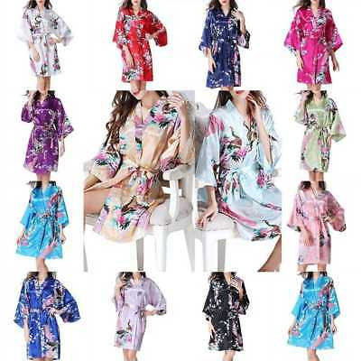 New Women Silk Satin Floral Bridesmaid Robes Gowns Bathrobe Wedding Nightwear
