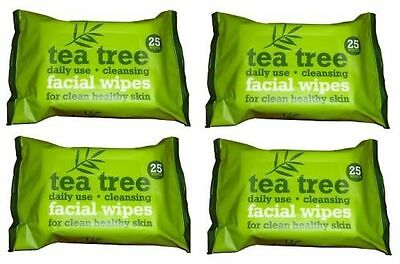 4 x 25 pack TEA TREE DAILY USE CLEANSING FACIAL FACE MAKE UP WIPES = 100 WIPES