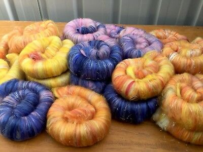 """Mixed Lollies "" Punis Style Rolags 220 Grams Spinning Felting Crafts"