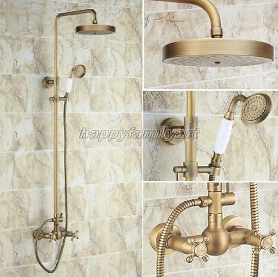 Antique Brass Bathroom Rain Shower Faucet Set Dual Cross Handle Mixer Tap yrs092