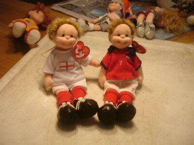 "Ty  Teenie Beanie Boppers  Approx 7""  2 Footies, Red Kit, White Kit"