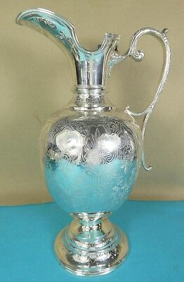 Indian Sterling Silver Wine Jug Ewer Fine Chased Decoration Arlington Calcutta