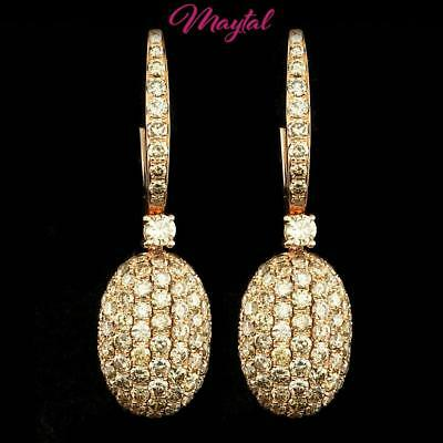 $11306 Certified Luxury Fine Jewelry 18K Rose Gold Diamond Earrings