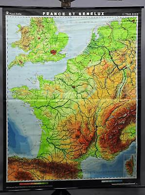 vintage rollable geographical wall chart poster, map, France and Benelux