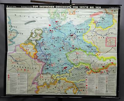 rollable geographical wall chart, map, German history 1917/18-1939