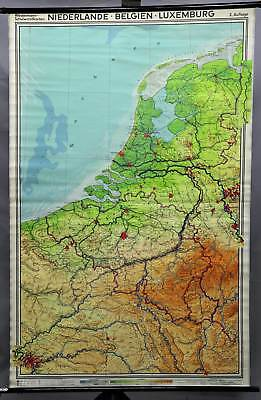 vintage poster geographical wall chart, map, Netherlands, Belgium, Luxembourg
