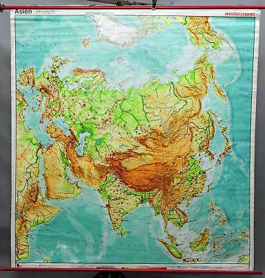 vintage geographical school wall chart poster, map, Asia, physical view