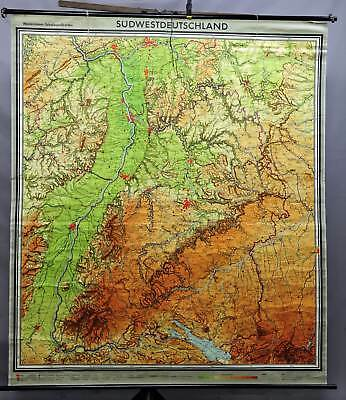 Westermann geographical school wall chart, overview map, Southwest Germany