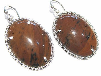 obsidian brown earrings silver 925% orecchini ossidiana mogano