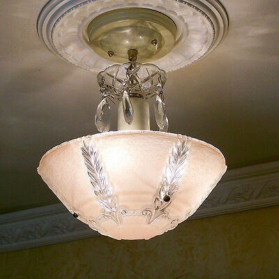151b Vintage aRT DEco CEILING LIGHT chandelier fixture glass shade pink 3 Lights
