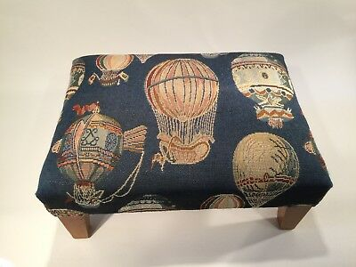 Vintage footstool with Hot Air-Balloon motif
