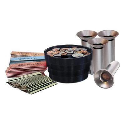 28 Piece Coin Sorting Kit Cointing Wrappers Trade Sorter Bank Money Change Tubes